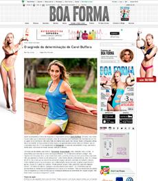 No site da revista Boa Forma, a nutricionista Patrícia Davidson Haiat é citada em matéria sobre a dieta de Carol Buffara