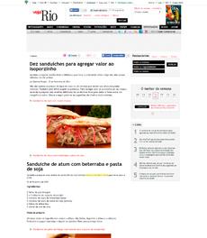 No site da revista Veja Rio, a nutricionista Patrícia Davidson Haiat dá receita de sanduíche