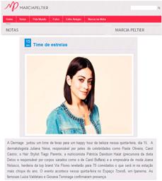 O site Márcia Peltier divulgou a participação da nutricionista Patrícia Davidson Haiat em evento da Dermage