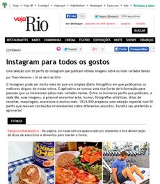 O perfil do Instagram da nutricionista Patrícia Davidson Haiat é destaque no site da Veja Rio