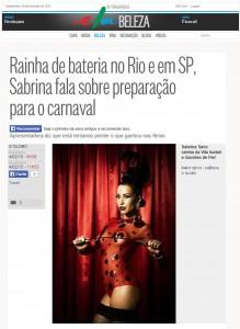 Rainha de bateria no Rio e em SP, Sabrina fala sobre preparação para o carnaval.